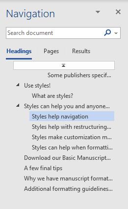 Screenshot of the Navigation menu in a Word document.