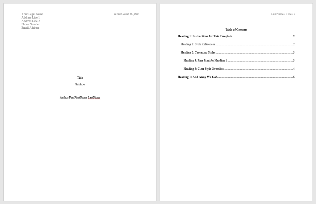 Screenshot displaying a preview of the manuscript template available for download.